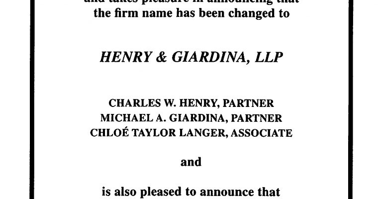 Henry & Federer is now Henry & Giardina
