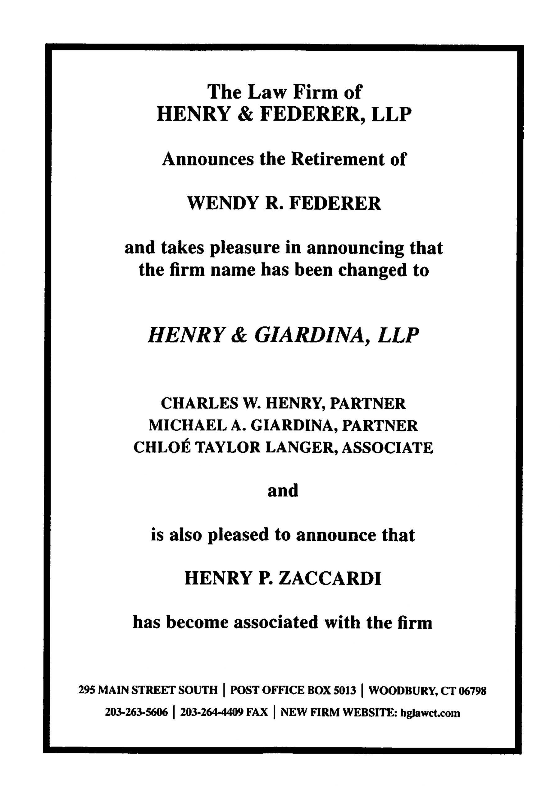 Henry & Federer is now Henry & Giardina